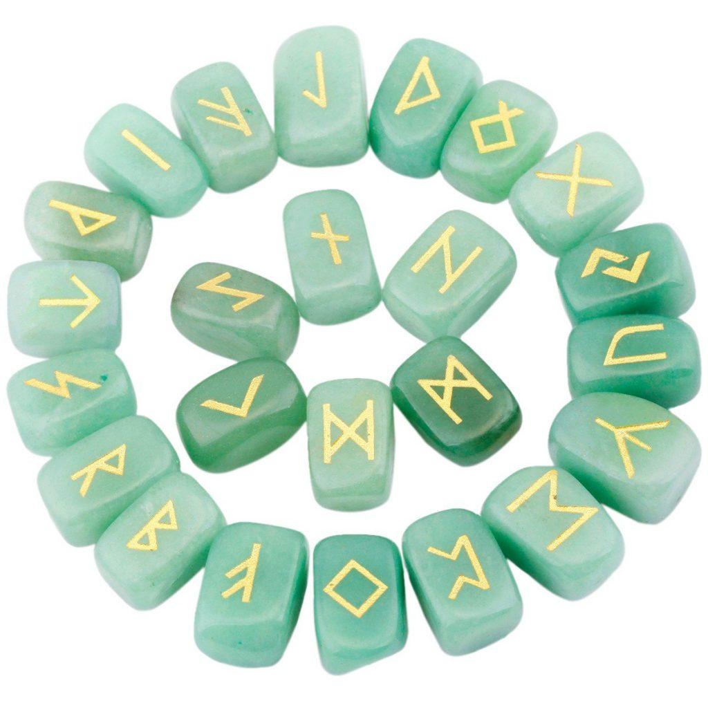 Green Aventurine Rune Stones